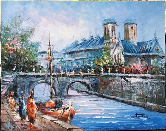 French Caribbean Waterway Oil on Canvas Painting