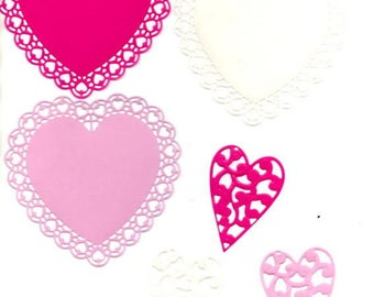 233 - Set of 6 cutouts heart for your cards or scrapbooking
