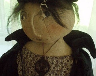 Primitive Folk Art Halloween Hallowed Hattie Doll E PATTERN by cheswickcompany