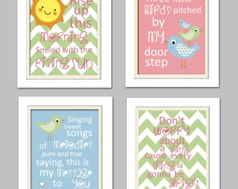 Nursery Quad, Pink and Green Nursery, Bird Nursery, Set of 4 8X10, Pink, Green, Blue