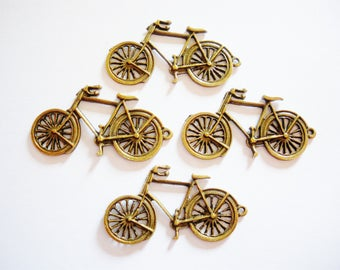 2 charms bronze bicycle 3.9 cm x 2 cm