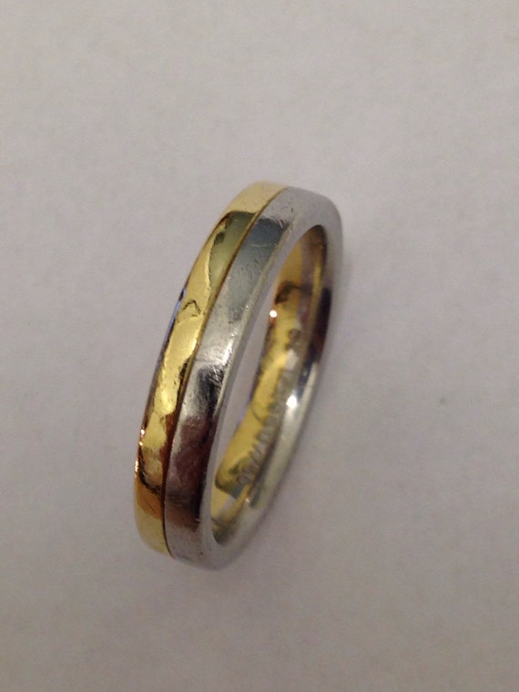 Wedding Band Ring in Platinum and 18K Gold, 4mm Wide