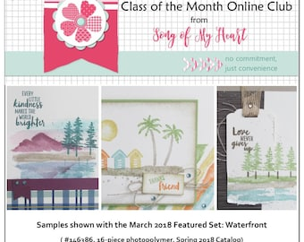 Class of the Month: Waterfront PLUS BONUS PDF Instant Digital Download Cardmaking Classes, lake mountains forest scenery pines tree  stamps
