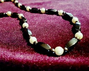 Hematite Necklace - hematite hematiet gemstone necklace  gothic spiritual goth