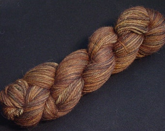 Hand Dyed Alpaca Yarn in Mystic Walnut - Sport Wt 250 yds