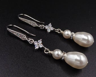 Swarovski pearl and crystal earrings, cubic zirconia silver, Bridal jewelry, , cream,  mother  bride, Prom earrings