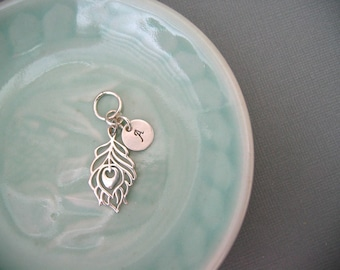 Sterling Silver Peacock Feather Charm and Custom Initial Charm -- Charm ONLY
