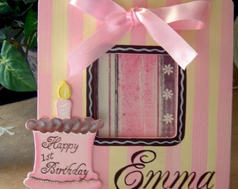 Girls Sweet Birthday Custom Painted  Boutique Picture Frame Personalization Included