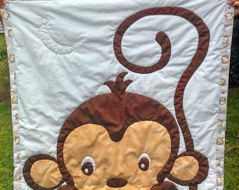 Baby Quilt: Adorable Peeking Monkey (Made to Order)