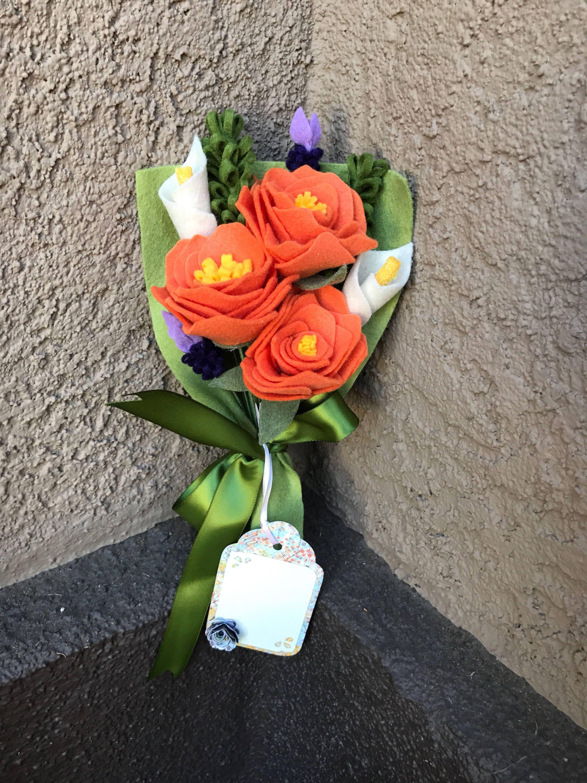 Orange and lily felt flower bouquet zoom izmirmasajfo