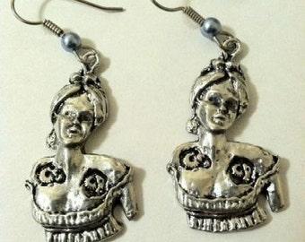 Steampunk Victorian Robot Woman Earrings