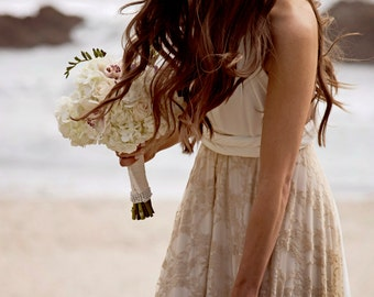 Boho wedding dress, Wedding dress, Beach wedding dress, bohemian lace wedding dress, beach bridal gown, golden lace gown beach wedding dress