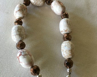 Handmade bead bracelet- browns and white