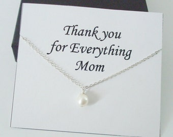 Solitaire White Pearl Sterling Silver Necklace ~~Personalized Jewelry Card for Mom, Mother in Law, Mother of Groom, or Step Mom, Thank You