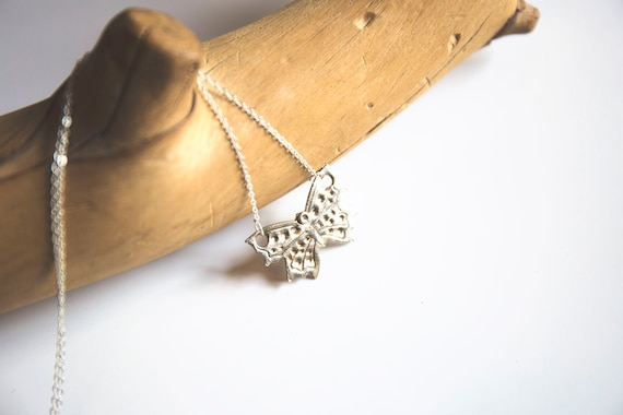 Pure Fine Silver Handmade Butterfly Necklace on delicate Sterling Silver Chain