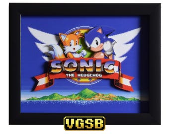 Sonic the Hedgehog 2 Shadow Box - Title Screen - GENESIS - Sega Genesis - 3D Shadow Box Glass Frame - 12x10 - Christmas Gift - 3D Game Art