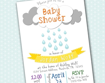 Rain Shower Baby Shower Invitation - 5x7 - Printable PDF & JPG