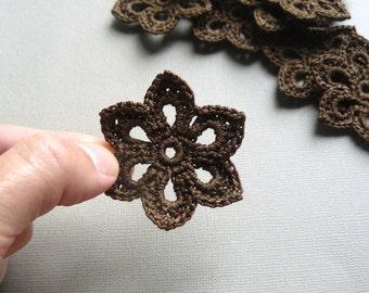 5 Crochet Flower Appliques -- 2 inch Diameter, in Chocolate Brown