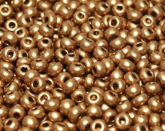 20gr 8/0 Czech Glass Seed Beads Rocailles, Aztec Gold (8SB053)