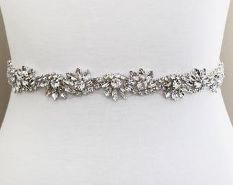 Silver crystal Bridal Belt, Bridal Sash, Wedding Belt, Wedding Sash Rhinestone prom belt B05S