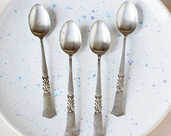 Set of four spoons_tea spoons_silver plated_hammered effect_collectible spoons_wings pattern_art deco style_12.5 cm 4.9'' long_retro kitchen