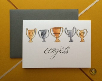 Illustrated Trophy Congrats Card