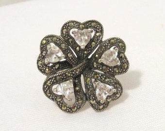 Vintage Sterling Silver Cubic Zirconia & Marcasite Flower High Dome Ring Size 8