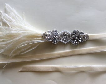 Ivory 1920s Headband, Silver Gatsby headpiece, bridal headbands,flapper dress  fascinator, custom wedding headbands, cream gray or black