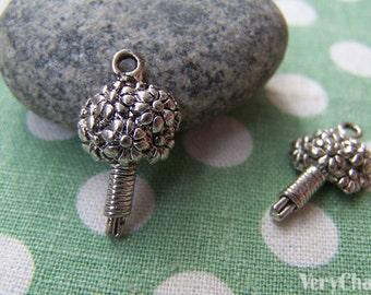 20 pcs of Antique Silver Flower Bouquet Charms Pendants 12x21mm A1686