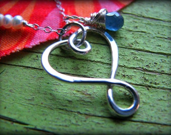 Small Infinity Heart n Birthstone Necklace -Small Heart - Gift Birthday Graduation Mother Wife Fiancee Soulmate Best Friend Sister