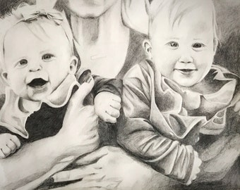 Custom Hand Drawn Three Person Portrait