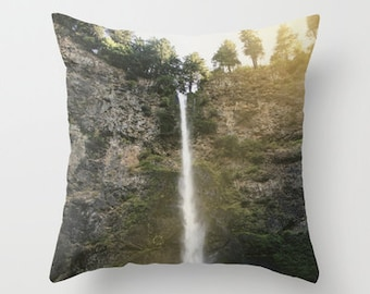 Nature Waterfall Photo Pillow Cover - Multnomah Falls Oregon Throw Pillow Cover - Includes Pillow Insert - Pacific Northwest - Made to Order