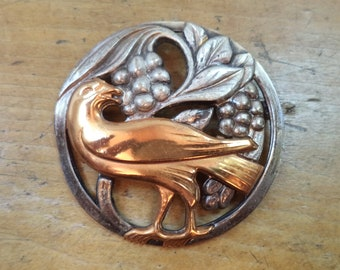 """Vintage """"Norseland Bird"""" Brooch Pin Silver Copper Berries Leaves Unique Retro Jewelry 1940s Mid Century"""