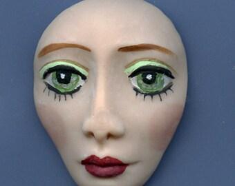 Polymer Face Medium Green  Eyed   Detailed  Un Drilled GED 1