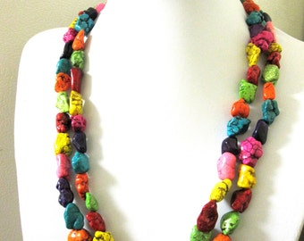 Western Jewelry Nugget Necklace Multi Colored Rainbow 2 Tiered