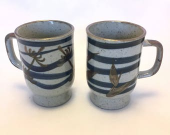 Set of Two Japanese Style Stoneware Mugs