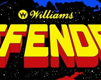 """Defender Marquee, Arcade, 12 x 36"""" Video Game Poster, Print"""