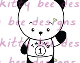 Dr Seuss Thing 1 Panda Digital Stamp