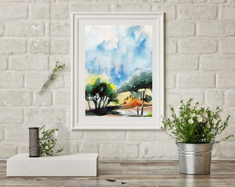 Mediterranean Landscape ORIGINAL Watercolor Painting, Olive trees landscape nature painting ,abstract realism painting