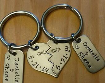 Hand Stamped Couple Keychains  - Split Heart Keychain - Wedding Gift or Anniversary Gift - Anniversary Date