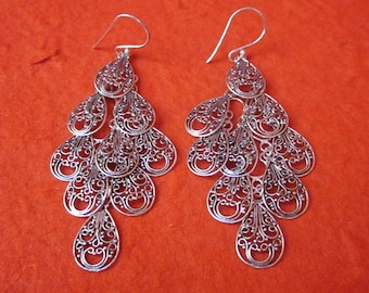Balinese chandelier Silver 925 Earrings / Bali handmade earrings / silver 925 / 3 inches long /  (#614m)