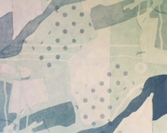 """Square, abstract, aerial view, monotype, """"Aloft"""", rice paper, printmaking"""