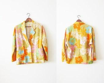 Don Wight for Jack Lenor Larsen Midsummer Print 1970 / Vintage Textile / Tiki / Tropical Jacket / Vintage Floral Blazer / Colorful / Island