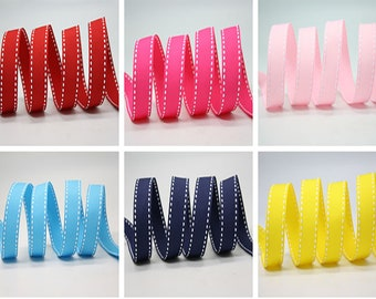 "6 color  10 mm. Saddle Stitch Grosgrain Ribbon /3/8"" Saddle Stitch Grosgrain Ribbon"