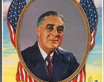 Old Orig. 1942 WW II Litho Print Franklin Roosevelt FDR
