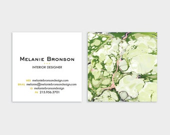 Marble Calling Cards Greens and Coral Pink | Business Cards | Blogger Cards | Set (50)