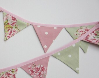 Mini Bunting, Pink and Sage Green ,Fabric Bunting, cottage Chic Bunting, Floral and Dotty, Pennant Flag Banner,Flag Garland, Various Lengths