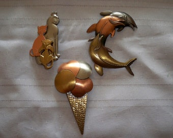 Mixed Metals Pins * Lot of 3