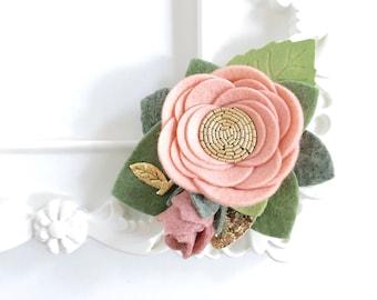 Blush Felt Flower Crown. Single Felt Flower Headband.  Summer Flower Girl Flower Headpiece.  Birthday Flower Crown. Newborn Photo Prop.