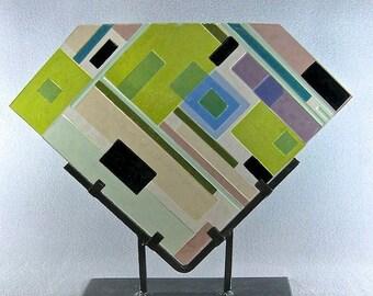 Mid Century Modern Art Glass Sculpture Soft Geometric Design  Artist Signed